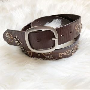 Fossil Embroidered Floral Leather Belt Size L